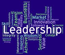 Leadership Words Represents Influence Guidance And Control Stock Illustration