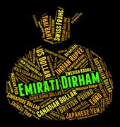 Emirati Dirham Means United Arab Emirates And Currency Stock Illustration