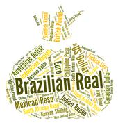 Brazilian Real Represents Worldwide Trading And Currency Stock Illustration