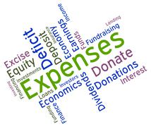 Expenses Word Represents Outgoing Outlays And Budgeting Stock Illustration