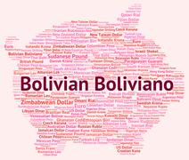 Bolivian Boliviano Indicates Exchange Rate And Banknotes Stock Illustration
