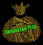Uruguayan Peso Represents Exchange Rate And Currencies Stock Illustration
