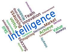 Intelligence Words Represents Intellectual Capacity And Ability Stock Illustration