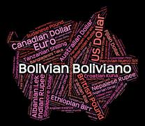 Bolivian Boliviano Means Forex Trading And Banknotes Stock Illustration