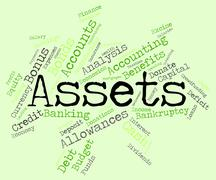 Assets Words Represents Owned Valuables And Belongings Stock Illustration