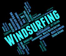 Windsurfing Word Means Sail Boarding And Sailboarding Stock Illustration