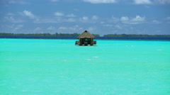 Paradise Island Reef overwater hut Palm trees in tropical aquamarine lagoon a Stock Footage