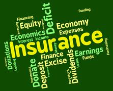 Insurance Word Represents Financial Words And Contracts Stock Illustration