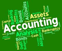 Accounting Words Represents Balancing The Books And Accountant Stock Illustration