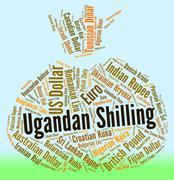 Ugandan Shilling Indicates Exchange Rate And Broker Stock Illustration