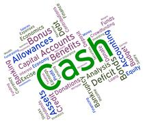 Cash Word Indicates Revenue Wealthy And Savings Stock Illustration