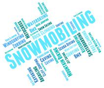 Snowmobiling Word Shows Winter Sport And Outdoors Piirros
