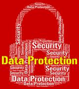 Data Protection Represents Forbidden Secured And Wordcloud Stock Illustration