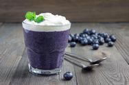 Healthy boiled egg blueberry mousse in glass, horizontal, copy space Stock Photos