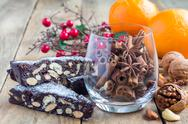 Panforte italian christmas dessert with nuts and candied fruits Stock Photos