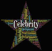 Celebrity Star Indicates Famed Stardom And Wordcloud Stock Illustration