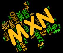 Mxn Currency Means Exchange Rate And Foreign Stock Illustration