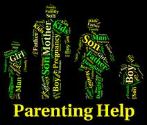 Parenting Help Shows Mother And Child And Advice Stock Illustration