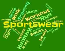 Sportswear Word Means Garment Apparel And Text Stock Illustration