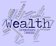 Wealth Word Represents Wealthy Prosperous And Rich Stock Illustration