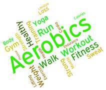 Aerobics Words Means Working Out And Exercise Stock Illustration
