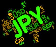 Jpy Currency Shows Japanese Yen And Broker Stock Illustration