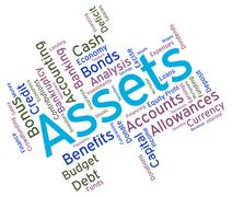 Assets Words Represents Owned Capital And Holdings Stock Illustration