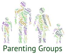 Parenting Groups Shows Mother And Child And Association Stock Illustration