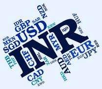 Inr Currency Indicates Worldwide Trading And Broker Stock Illustration