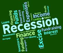 Recession Word Represents Financial Crisis And Bankrupt Stock Illustration