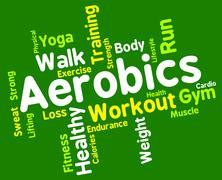 Aerobics Words Shows Get Fit And Cardio Stock Illustration