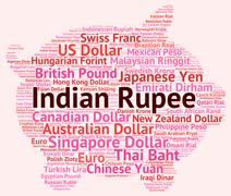 Indian Rupee Shows Worldwide Trading And Foreign Stock Illustration
