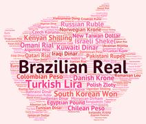 Brazilian Real Indicates Foreign Currency And Broker Stock Illustration
