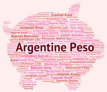 Argentine Peso Shows Worldwide Trading And Argentina Stock Illustration