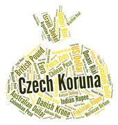 Czech Koruna Indicates Exchange Rate And Banknotes Stock Illustration