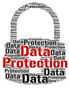 Data Protection Shows Words Secured And Facts Stock Illustration