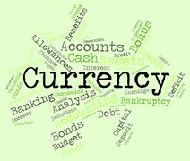 Currency Word Shows Exchange Rate And Coinage Stock Illustration