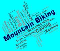 Mountain Biking Indicates Peak Cycling And Bike Stock Illustration