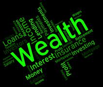Wealth Word Shows Words Text And Rich Stock Illustration