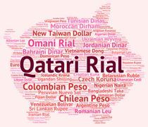 Qatari Rial Indicates Currency Exchange And Banknote Stock Illustration