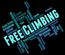 Free Climbing Words Indicates Extreme Adventure And Climber Stock Illustration