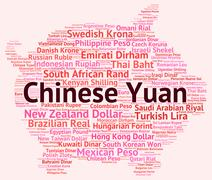 Chinese Yuan Indicates Exchange Rate And Banknotes Stock Illustration