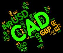 Cad Currency Indicates Exchange Rate And Broker Stock Illustration