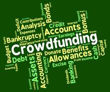 Crowdfunding Word Indicates Raise Funds And Capital Stock Illustration