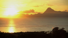 Mt Otemanu behind the luxury vacation resort of Bora Bora in Society Islands of Stock Footage