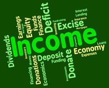 Income Word Means Text Salary And Revenues Stock Illustration