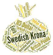 Swedish Krona Indicates Forex Trading And Coinage Stock Illustration