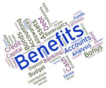 Benefits Word Indicates Compensation Rewards And Pay Stock Illustration