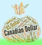 Canadian Dollar Shows Canada Dollars And Currency Piirros