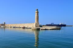 Rethymno lighthouse landmark Stock Photos